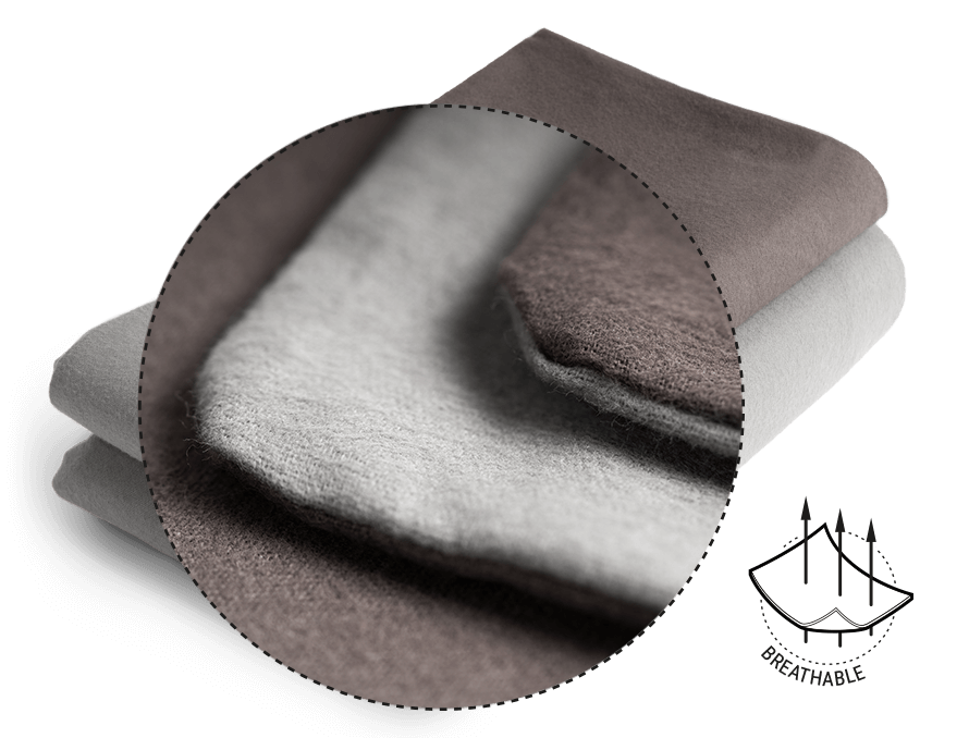 Photo: A stack of folded BODYGUARD Flannel Bed Linen. On top of it a magnifying glass showing the open-pored structure. Next to it a symbol with a fabric with three arrows going through it: breathable.