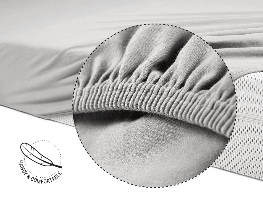 Photo: The BODYGUARD Mattress is half covered with the BODYGUARD Fitted Sheet. Above it a magnifying glass that shows the elastic band magnified. Next to it a symbol with a spring, which says: handy and comfortable.