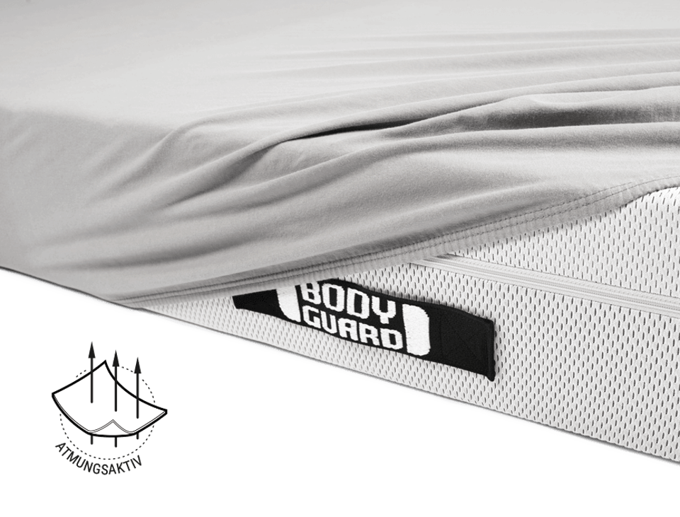 Foto: Die BODYGUARD Matratze ist halb mit dem BODYGUARD Jersey-Spannbettlaken bezogen und gibt den Blick auf den HyBreeze Matratzenbezug und einen Komfortgriff frei. Ein Symbol zeigt drei Pfeile, die durch eine Stoffschicht gehen. Daneben steht: atmungsak
