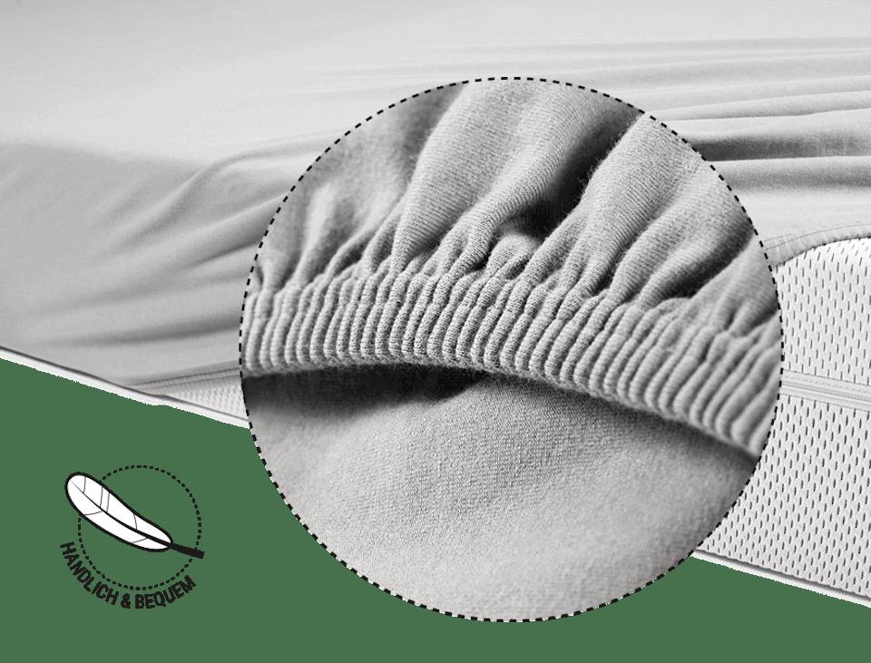 Foto: Die BODYGUARD Matratze ist halb mit dem BODYGUARD Spannbettlaken bezogen. Darüber eine Lupe, die den Gummizug vergrößert zeigt. Daneben ein Symbol mit einer Feder, an dem steht: handlich und bequem.