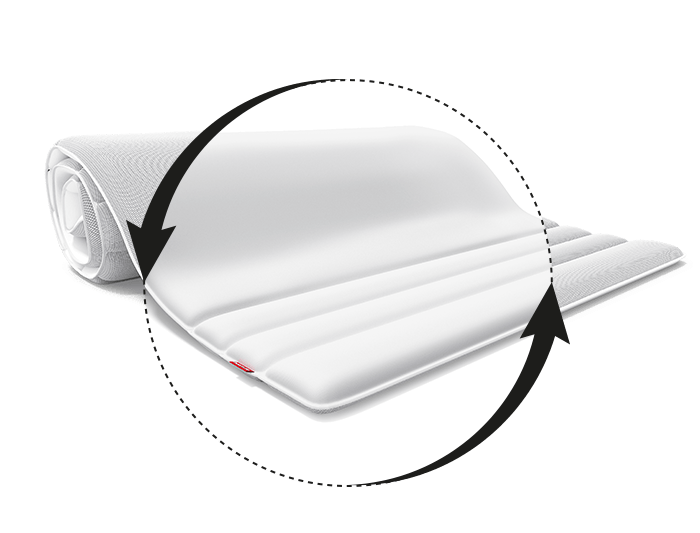 The focus is on the soft side of the BODYGUARD Topper made of BaumwollSleep Cotton Fabric. Two arrows around it symbolize the versatility of the differently covered sides.