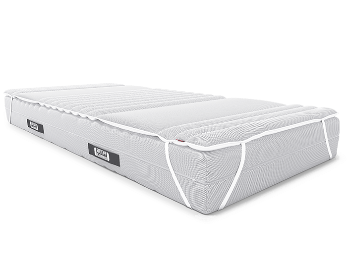 The BODYGUARD Topper is stretched on the BODYGUARD Mattress with the fastening loops.