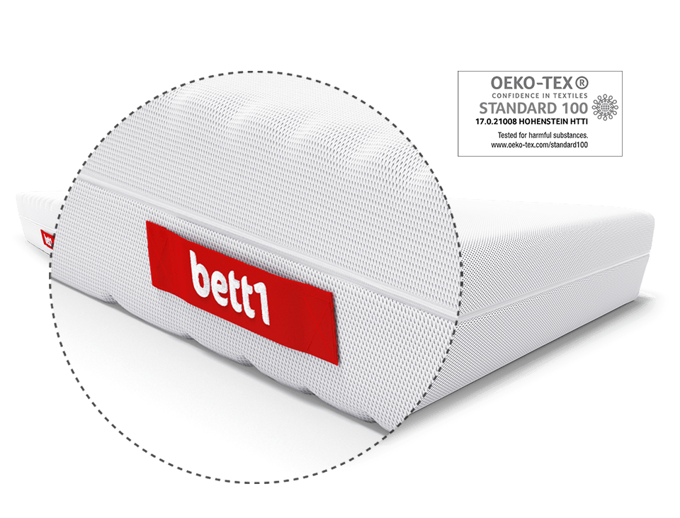 Zoom in on the BODYGUARD logo on the comfort handle for turning the BODYGUARD mattress. Next to it the OEKO-TEX Standard 100 test seal.
