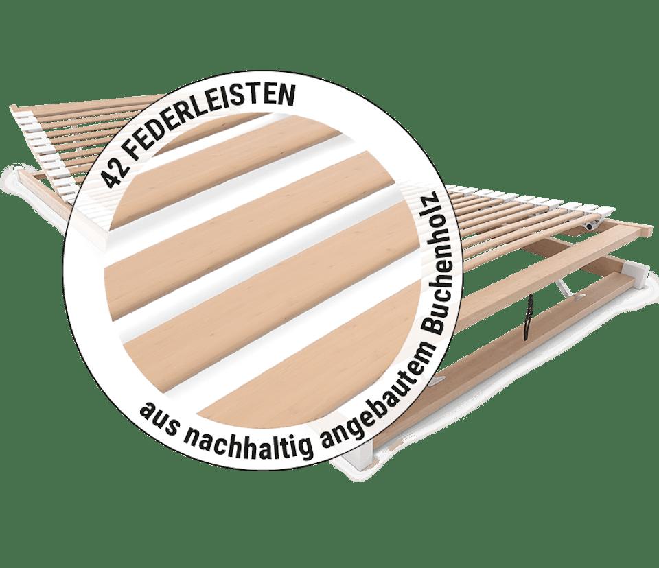 Zoom auf die Federleisten des BODYGUARD Lattenrost, daneben steht: 42 Federleisten aus nachhaltig angebautem Buchenholz