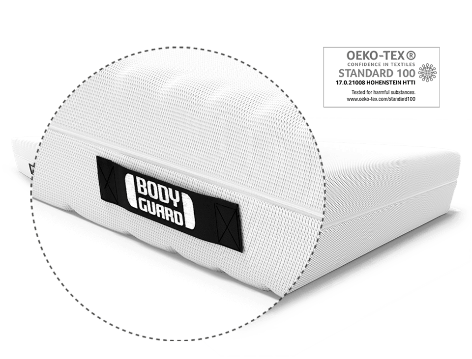 Zoom on the BODYGUARD lettering on the comfort handle to turn the BODYGUARD Mattress. Next to it the test seal OEKO-TEX 100.