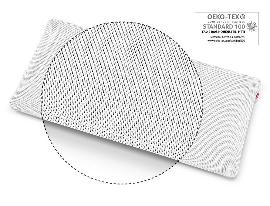 Zoom on the HyBreeze Cover of the BODYGUARD Pillow Plus, next to it the OEKO-TEX Standard 100 test seal.
