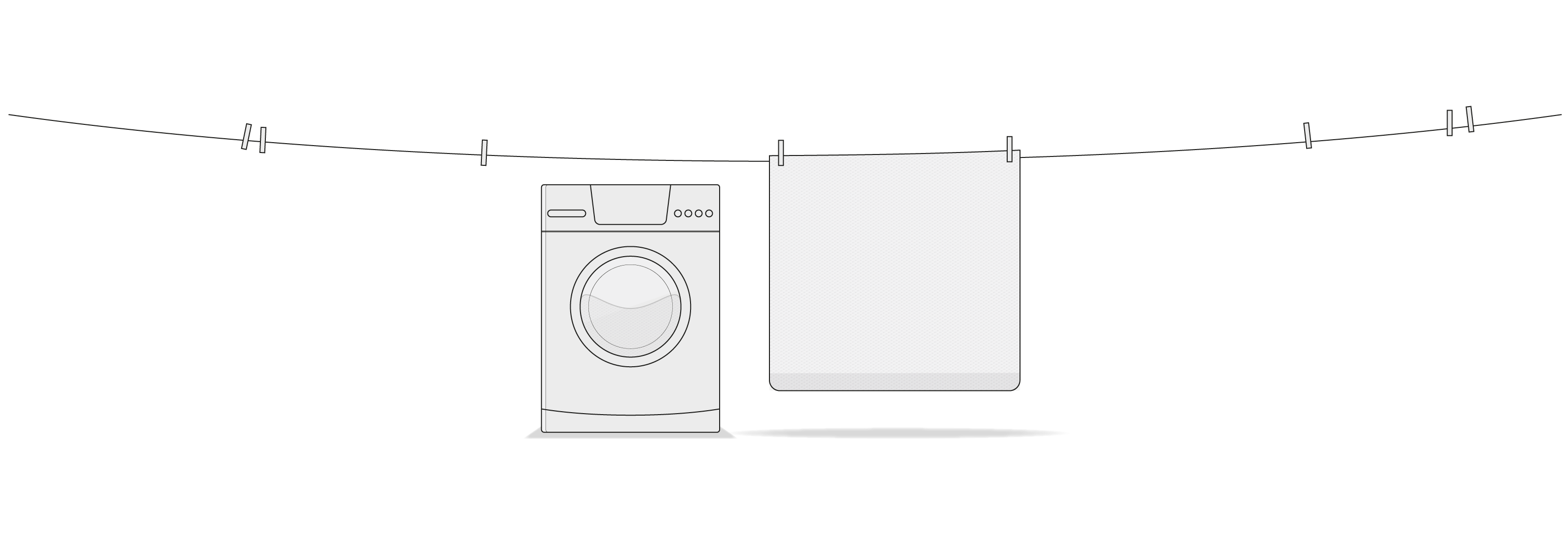 Illustration: A clothesline with a few clothespins, on which the HyBreeze Cover is hanging. Underneath is a washing machine.