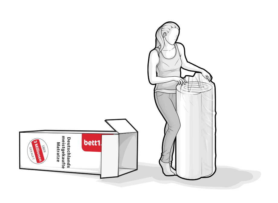 Illustration: A woman has pulled the compressed and rolled BODYGUARD Mattress from the box.