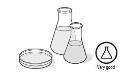 """Illustration: Two glass flasks and a petri dish symbolise the hazardous substance test, and beside it the test verdict, """"very good""""."""