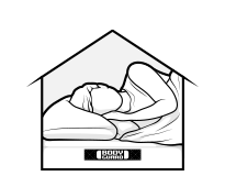 Illustration: a sketched house; a person sleeps inside