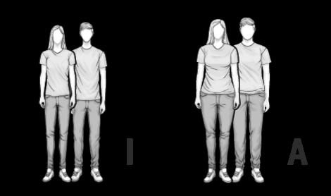 Illustration Mischtypen I und A: ein schlanker und ein rundlicher Mann