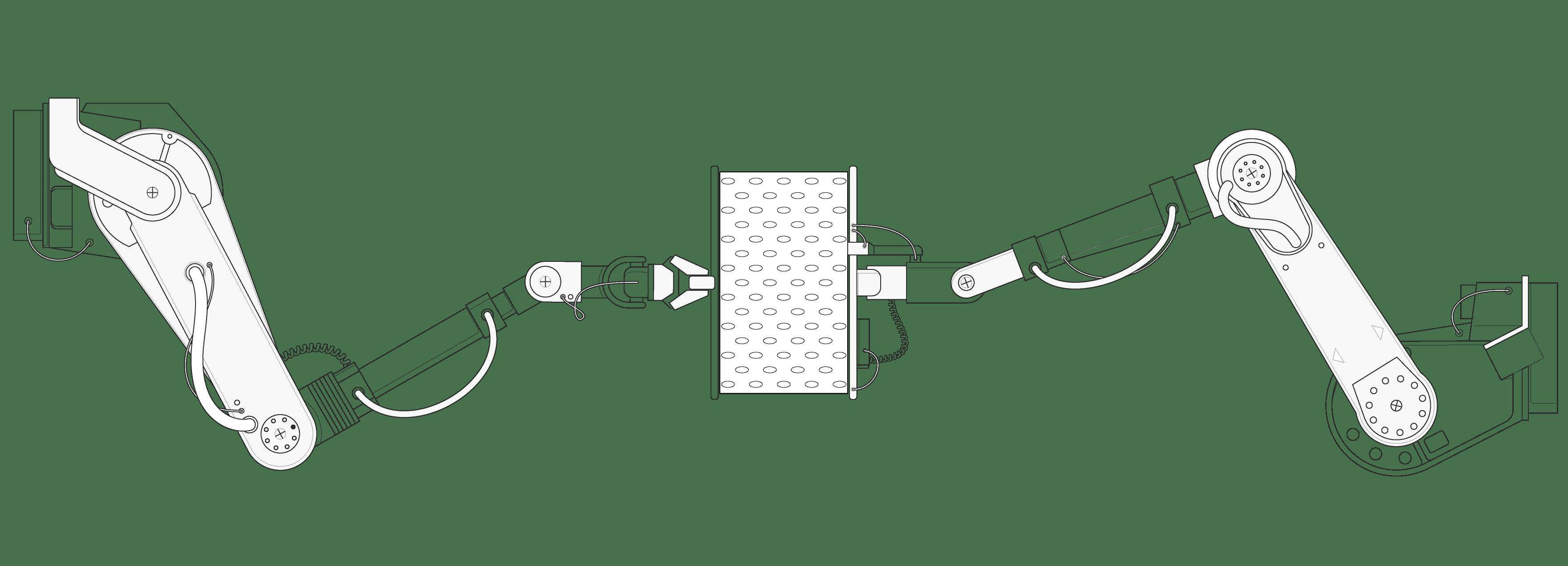 Illustration: Ein Stück HyBreeze Funktionsbezug zwischen zwei riesigen hydraulischen Roboterarmen, die an den Seiten ziehen.