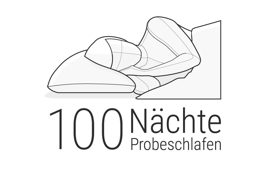 Illustration: Der Oberkörper einer Person liegt in Seitenlage im Bett, dem Betrachter zugewandt. Darunter steht: 100 Nächte Probeschlafen.