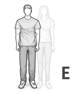 Illustration: Body type E: tall, thin man