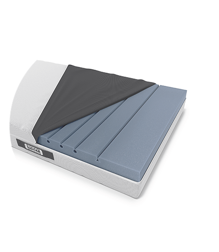 The BODYGUARD Mattress with open cover and the seal of Stiftung Warentest