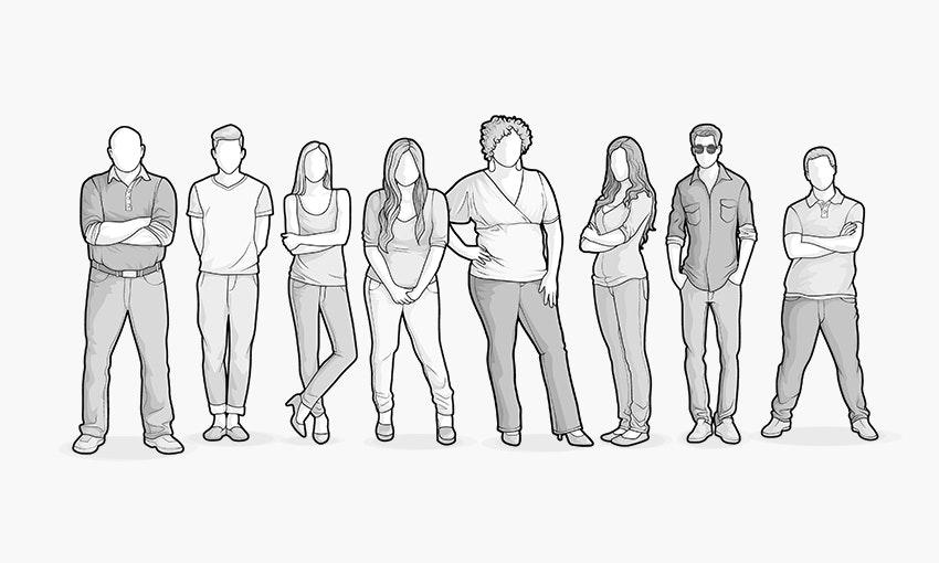 Illustration: Acht Frauen und Männer stehen in einer Reihe; sie symbolisieren die vier verschiedenen Körperformen der HEIA-Typologie.