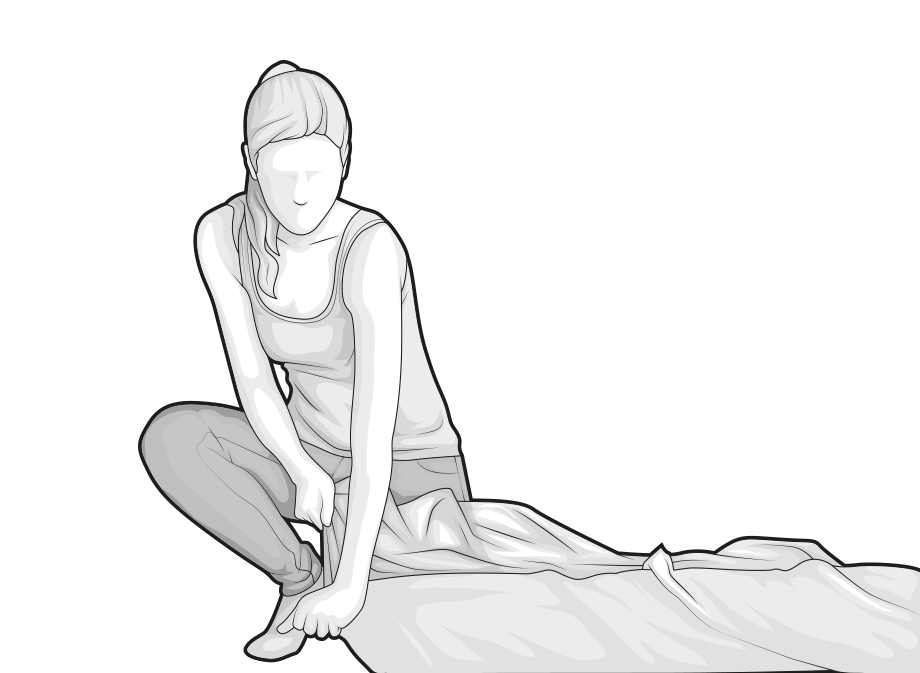 Illustration: A woman opens a corner of the packing film on the BODYGUARD Mattress.
