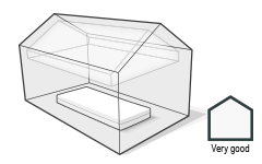 Illustration: A mattress is lying in a house. The air is free of pollutants.