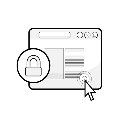 Illustration: an internetbrowser with a padlock