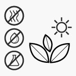 Symbols show: natural, tested for harmful substances and odourless