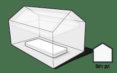 Illustration: Eine Matratze liegt in einem Haus. Die Luft ist frei von Belastungen.
