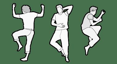 Illustration: Drei Personen liegen nebeneinander. Die erste in Bauchlage, die zweite in Rückenlage, die dritte in Seitenlage.