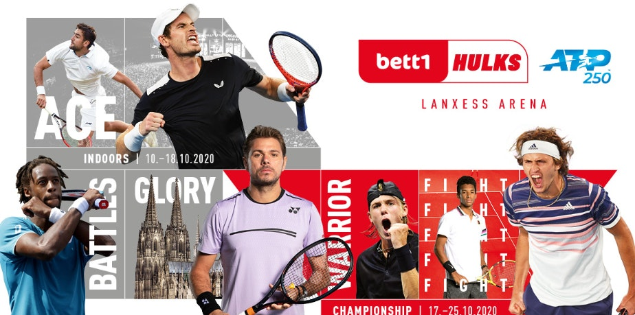 Photo collage: Various participating tennis players, the dates of the two tournaments and the logos of the bett1HULKS and ATP is visible.