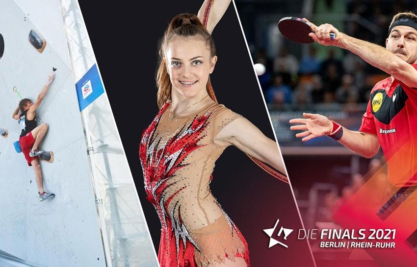 Fotocollage: links ein Mann an einer Kletterwand, in der Mitte eine Frau im Outfit für Rhythmische Sportgymnastik, rechts ein Tischtennisspieler.