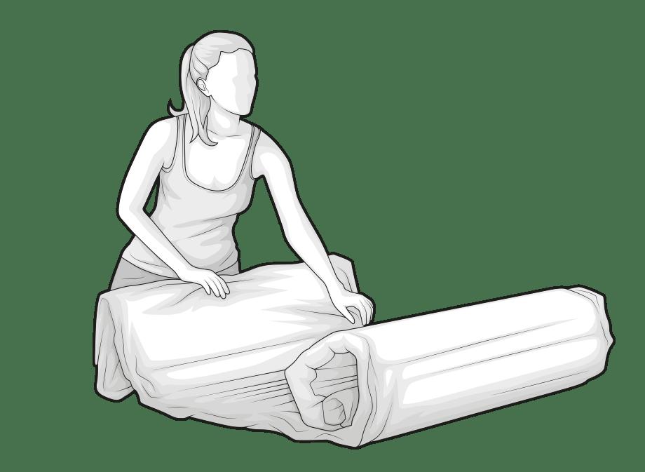 Illustration: A woman unrolls the compressed BODYGUARD Mattress.