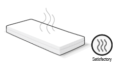 Illustration: a mattress above which three wavy lines symbolise odour