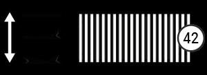 Symbole zeigen: 42 Federleisten und verstellbar im Kopf- und Fußbereich
