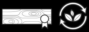 Symbole zeigen: nachhaltige Forstwirtschaft von zertifizierten Händlern