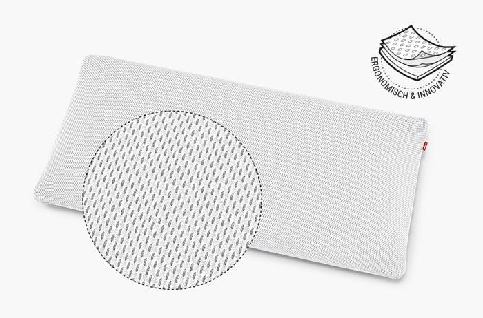 Das BODYGUARD Stützkissen Plus mit vergrößerter Ansicht, die die Textur des HyBreeze Funktionsbezugs zeigt. Daneben steht: ergonomisch und innovativ.