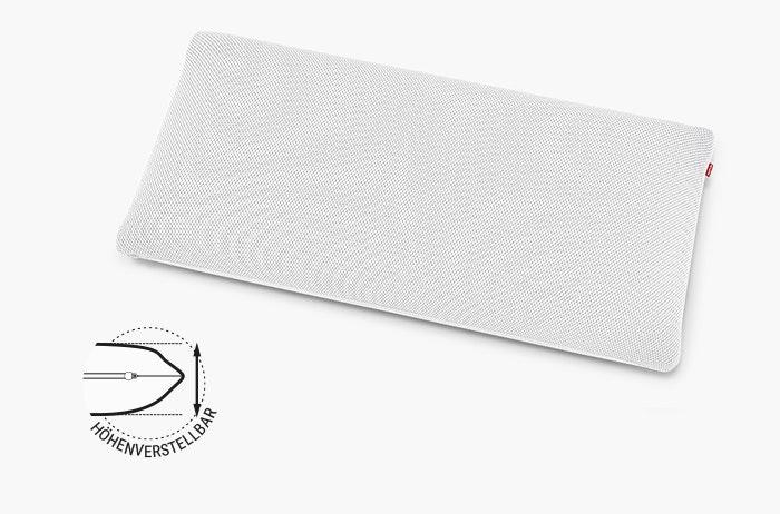 Linien mit Längenangaben umrahmen das BODYGUARD Stützkissen Plus: 13 x 80 x 40 cm (HxBxT). Daneben steht: höhenverstellbar.