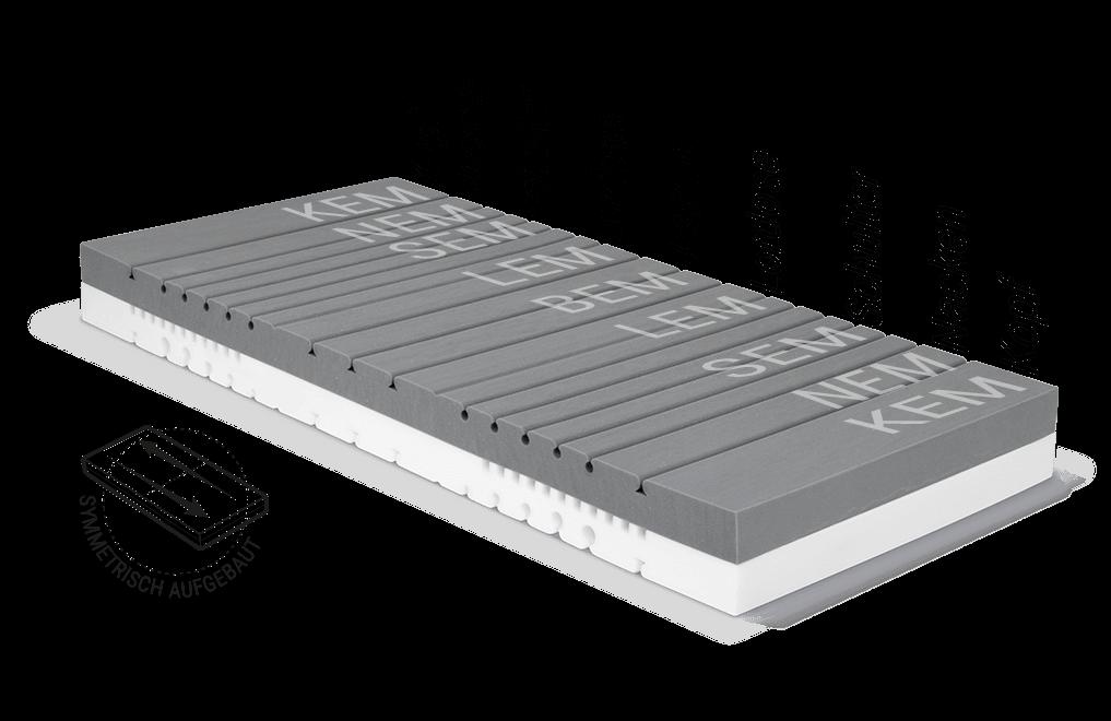 Illustration: der Matratzenkern der BODYGUARD Matratze mit den verschiedenen Ergonomiemodulbereichen.