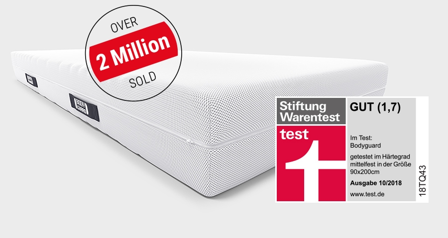 "The BODYGUARD Anti-Cartel-Mattress with an advertising interference saying ""over 2 million sold"" and the test seal of Stiftung Warentest with overall rating of 1.7 (""test"" 10/2018)."
