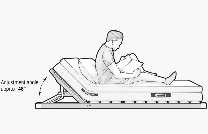 A person sits upright on a mattress.