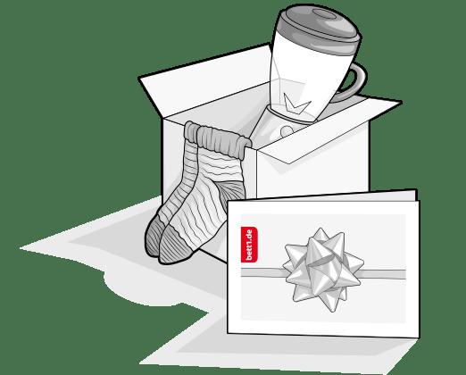 Illustration: ein Mixer und ein Paar Wollsocken in einem Karton, davor der bett1.de Geschenkgutschein