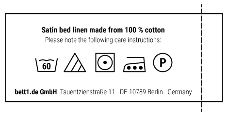 Brief instructions for the care of BODYGUARD Satin Bed Linen
