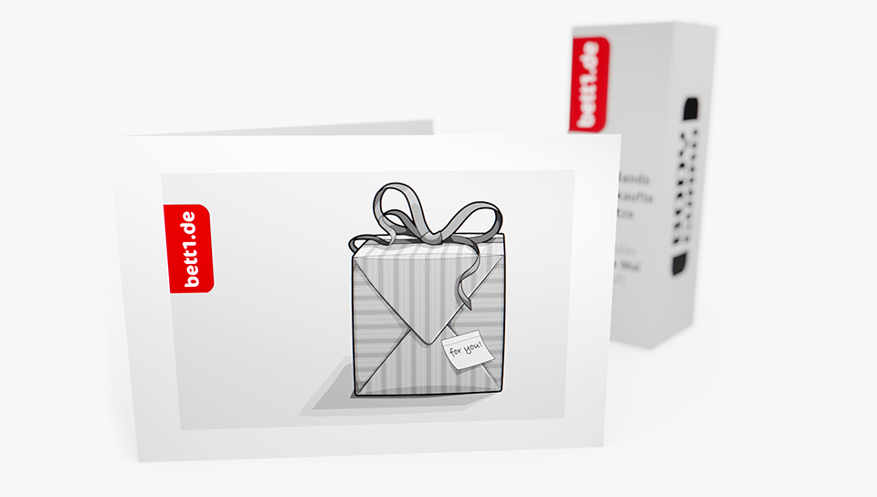 The bett1.de gift voucher with gift box design, mini-version of the Bodyguard box in the background