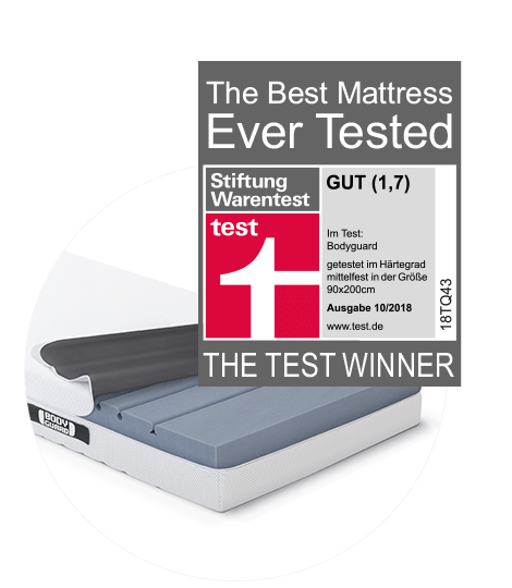 The BODYGUARD Mattress with open cover and test winner seal of Stiftung Warentest