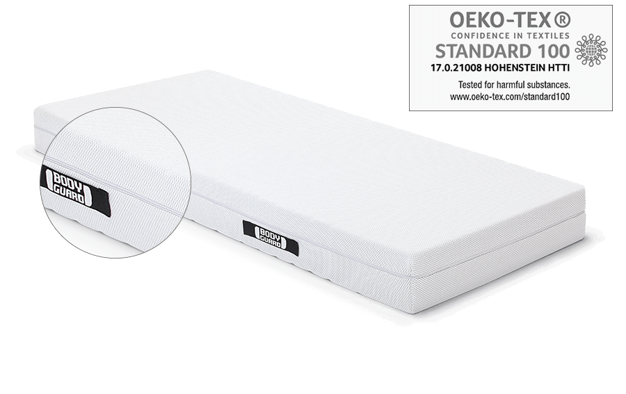 The BODYGUARD Mattress. Above, the Oeko-Tex Standard 100 test seal.