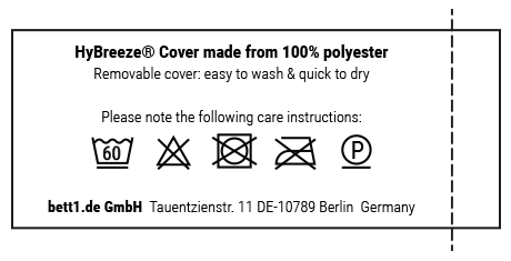 Brief instructions regarding the care of the HyBreeze Cover