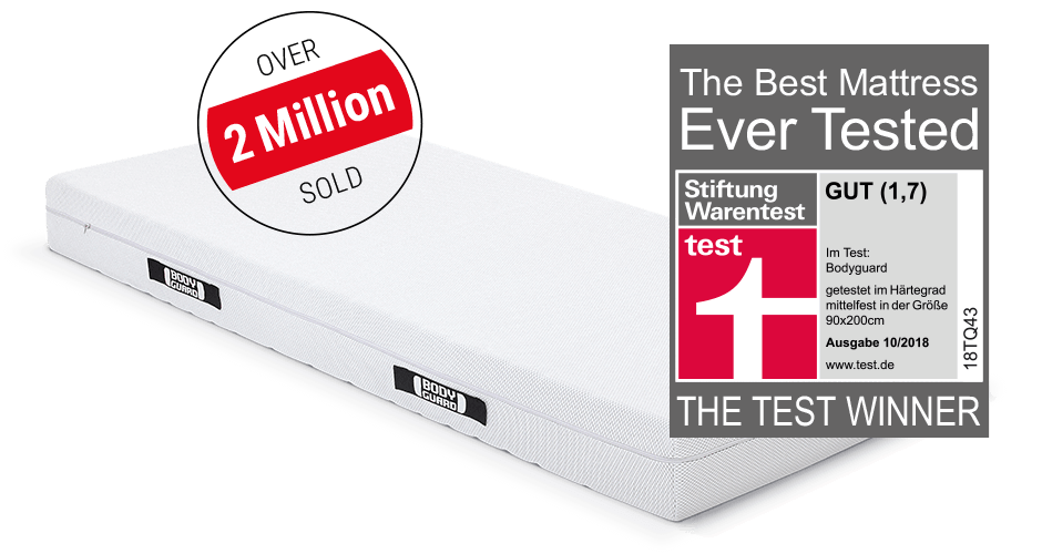 """The BODYGUARD Anti-Cartel-Mattress with an advertising interference saying """"over 2 million sold"""" and the test winner seal of Stiftung Warentest."""