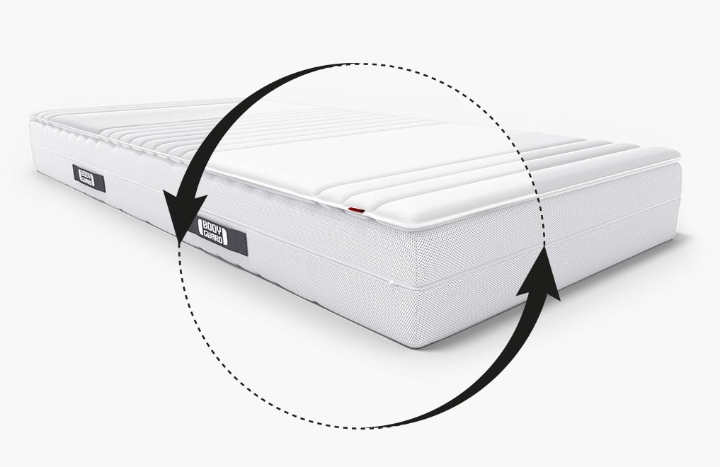 The BODYGUARD Mattress Topper lies half-folded on the BODYGUARD Mattress so that the material of both covers can be seen.