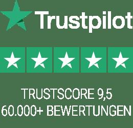 Trustpilot Bewertungen - 60000+ - Durchschnittsbewertung 9.5