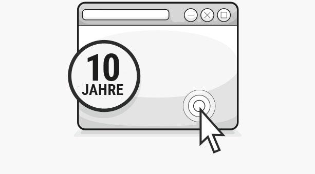Illustration: Ein Browserfenster mit Mauspfeil, davor steht: 10 Jahre
