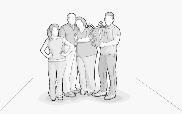 Illustration: a family standing together, holding a gift box in their hands.