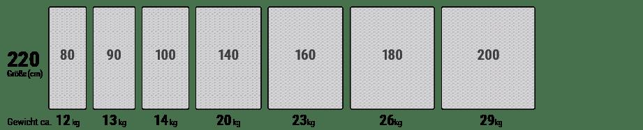 In einer Reihe sind verschiedene Matratzenbreiten von 80 bis 200 cm für die Matratzenlänge 220 cm dargestellt.