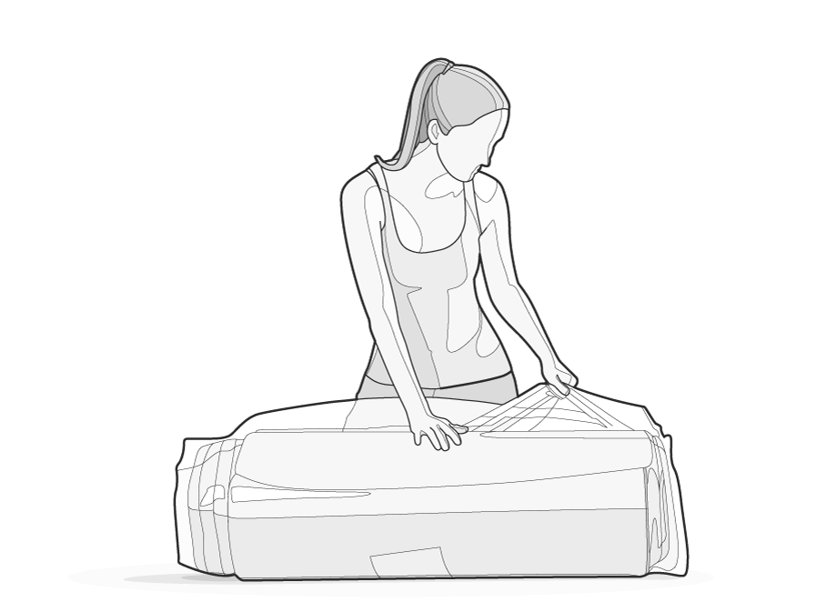 Illustration: A woman opens the packing film on the BODYGUARD Mattress.